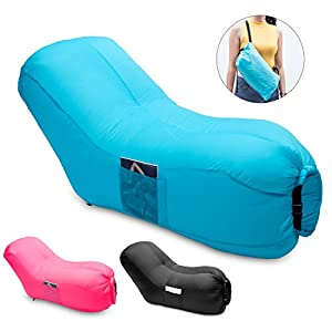 Inflatable Lounger, TOPFEE Lazy Sofa with Backrest Portable Waterproof Hammock Air Sofa Lazy Bed Indoor or Outdoor Hangout Inflatable Couch for Camping Beach Picnics and Music Festivals