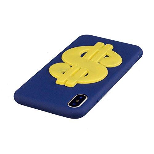 Funda iPhone X Silicona, Carcasas iPhone X Case Cover Dibujos Animados Flexible TPU Opaco Ultra Delgado Ultra Ligero Goma Caja Suave Gel Shock-Absorción,Anti-Arañazos y Anti-Choque Bumper Protectora F Dólar