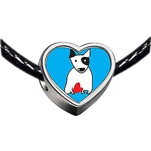 Chicforest Silver Plated Bull Terrier Dog Photo Heart Charm Beads Fits Pandora Chamilia Biagi Charm Bracelet