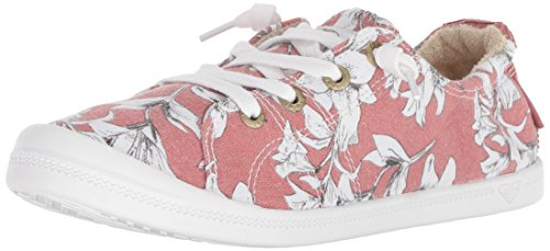 Roxy Women's Bayshore Slip on Shoe Sneaker, Pink Floral, 6.5