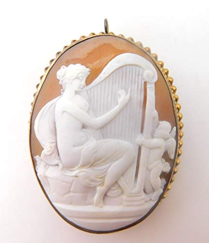Gold Filled Cameo Pin - Large Genuine Natural Shell Cameo Pin/Pendant with Woman and Harp (#J3821)