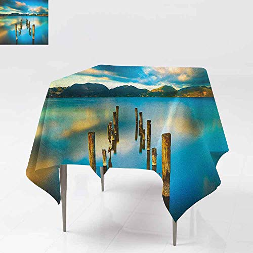 SONGDAYONE Multi-Patterned Square Tablecloth Turquoise Surreal Landscape with Wood Deck and Clouds in Sky Dreamlike Coastal Charm Will not Fade Turquoise White W60 xL60