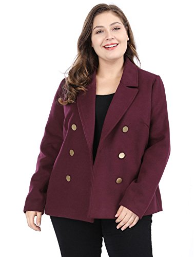 Agnes Orinda Women's Plus Size Double Breasted Winter Peacoat Notched Lapel Coat 1X Wine Red