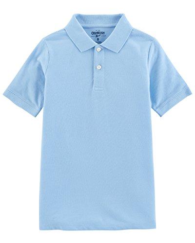 (Osh Kosh Boys' Short Sleeve Uniform Polo, Blue Cloud, 7 )