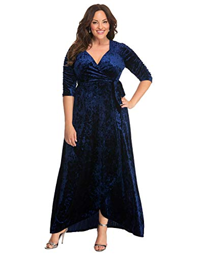 Kiyonna Women's Plus Size Cara Velvet Wrap Dress