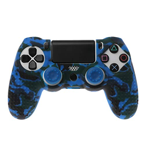Hijing Anti Slip Camo Silicone Controller Cover Skin Protector Case with 2 Pcs Joystick Cap,Grip Case Cap Perfect for Sony PlayStation 4 PS4 Controller