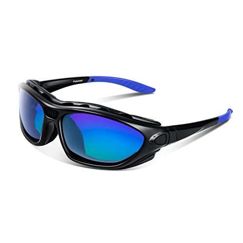 Safety Glasses Motorcycle Sunglasses - Polarized Sports Sunglasses Goggles Safety For Men Women, Youth Baseball Running Cycling Bike Fishing Golf Tennis Driving UV400 Superlight Frame Comfortable (Black, Blue)