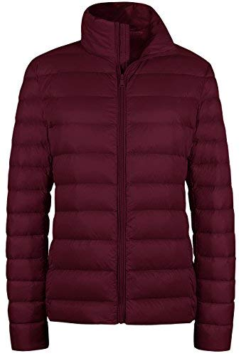 Wantdo Women's Packable Ultra Light Weight Short Down Jacket(Wine Red, US Medium)