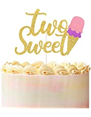 Two Sweet Ice Cream Cake Topper for Second Birthday,Gold Glitter Summer Happy 2nd Birthday Party Decorations,Smash Photo Prop
