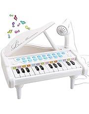 Amy & Benton Baby piano tangentbord för 1 2 3 år flickor, barn mini piano leksak med mikrofon