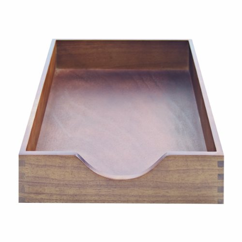 Carver Hardwood Stackable Desk Tray, Legal Size, 16.25 x 11 x 2.75 Inches, Walnut Finish (Legal Desk Tray Wood)