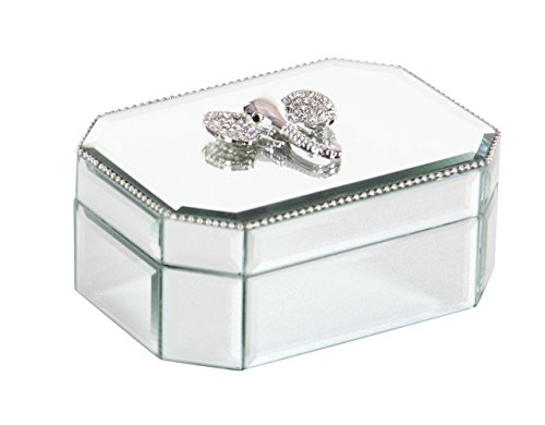 Deco 79 35777 Mirrored Wooden Jewelry Box, Silver/Reflective - Glass Mirror Box