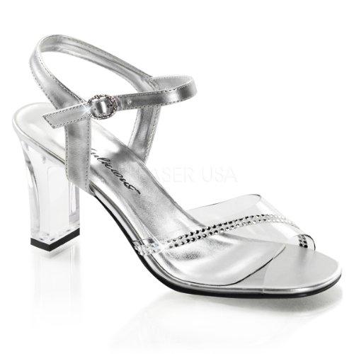 Fabulicious Womens Romance 308R Ankle Strap Sandals Clear Silver Metallic Pu xWsxZ
