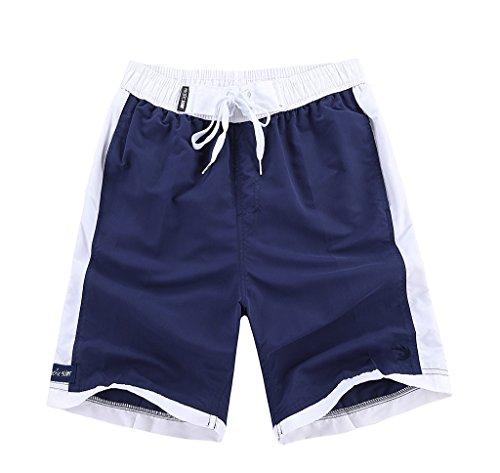Madhero Men's Beach Shorts Rainbow Color Board Shorts 4820# (US XL, navy/white)