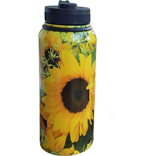 Sunflower Vacuum Insulated Water Bottle, Stainless-Steel Metal, Sports and Travel Water Bottle, Keeps Your Beverages Cold or Hot for 12 Hours, Wide Mouth Opening with Lid