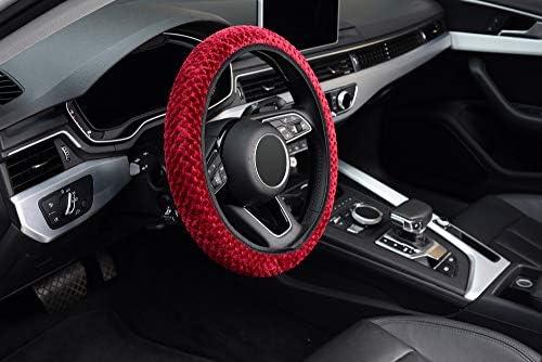 KAFEEK Elastic Short Microfiber Plush Steering Wheel Cover for Winter Warm , Universal 15 inch, Anti-Slip, Odorless, Wine Red