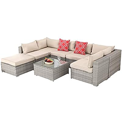 Furnimy 8 Pieces Outdoor Indoor Furniture Sets Rattan Wicker Conversation Sets Sectional Sofa with Table for Patio Garden Poolside Balcony