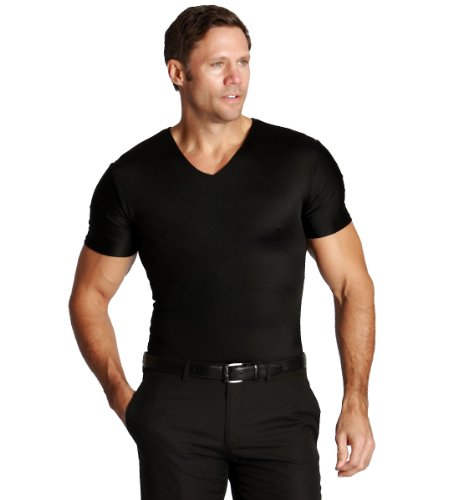 Insta Slim 3 Pack V-Neck, Look Up to 5 Inches Slimmer Instantly, Black, Medium, The Magic is in The Fabric!