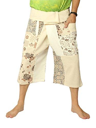 jing shop Men's Thai Fisherman Wrap Pants Short Patchwork (3/4 Thai Fisherman Pants)