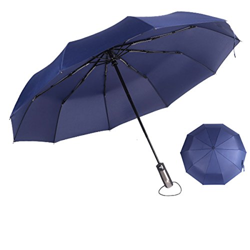 Compact Auto Open Close 10 Ribs Travel Umbrella- Reinforced Windproof Umbrella,Foldable & Portable (Navy (Twilight Tye Dye)