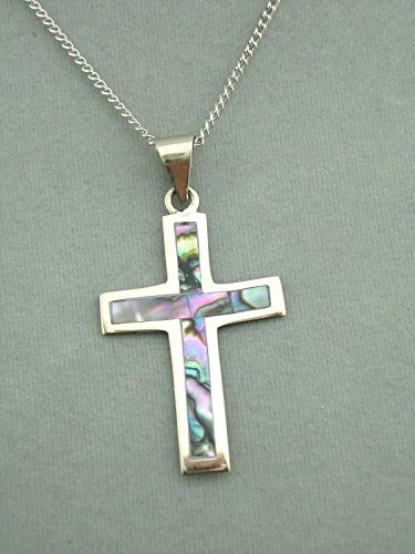 Alpaca Silver and Abalone Shell Cross Necklace For Women Fashion Jewelry NEW