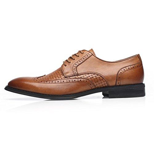 La Milano Mens Wingtip Brogue Lace Up Oxfords Round Captoe Comfortable Classic Modern Formal Business Dress Shoes Wingo-3-cognac S5ekK1voj