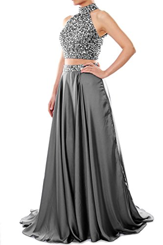 Prom Macloth Dress Gray Women Two Chiffon High Long Formal Neck Piece Evening Gown TxwanF1Tr