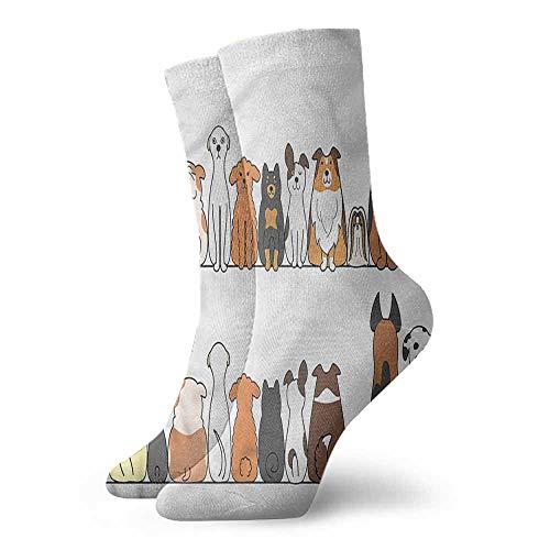 Women Summer Cute Socks Dog,Dog Family in a Row Artful 3.4