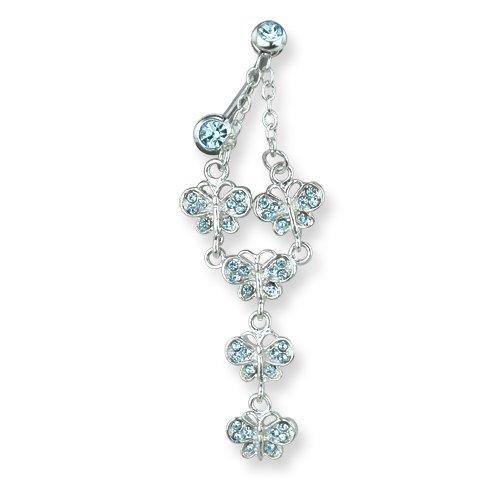 13//32 1.6mm 11mm Long Curv Jewelry by Sweet Pea SGSS Curv BB w Fancy Gem Top Dangle 14G