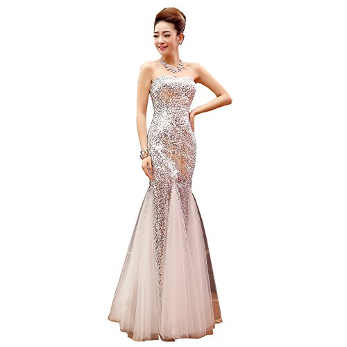 Datangep Women's White Sweetheart Sequins Mermaid Long Pageant Dress For Special Occasion US12
