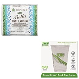 KITECOEPCC16GSMRC06410 - Value Kit - ECO-PRODUCTS,INC. GreenStripe Cold Drink Cups (ECOEPCC16GS) and MarcalPro 100% Premium Recycled Bella SnapPac Dinner Napkins (MRC06410)