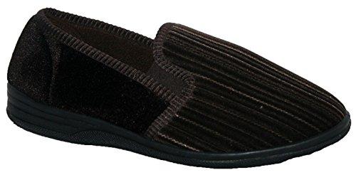 Pantuflas para hombre sin cordones y con doble refuerzo a los lados marrón