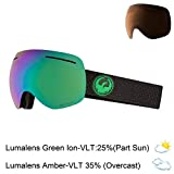 Dragon Alliance X1 Ski Goggles, Large, Black, Split/Luma Green Ion Lens