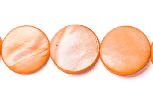 Orange Mother-Of-Pearl Round Plate Shell Beads Size:18x18mm