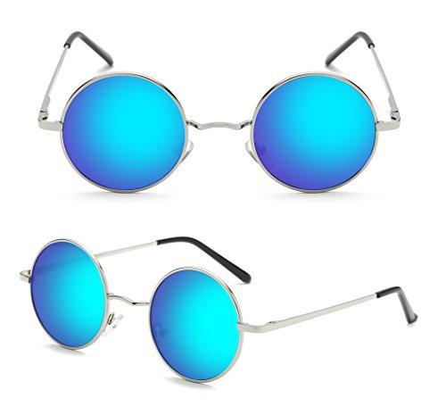hombres gafas Steampunk Retro de sol 47mm polarizadas metálico estilo Panda inspirado Plateado redondo Azul círculo Hat para qw84ES