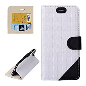 Woven Texture Horizontal Flip Leather Case with Card Slots & Wallet & Holder for iPhone 6 Plus (White + Black)