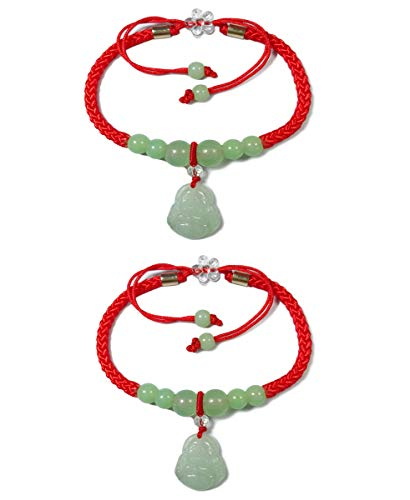 BrightTea Laughing Buddha Jade Bead Bracelet Lucky Rope Strap Jadeite Pendant Packing 2pcs