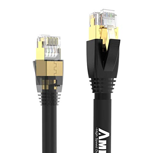 AMPCOM S/FTP CAT8 Ethernet Cable, High Speed Patch Cable 10Gbps, 25Gbps, 40Gbps with Gold Plated RJ45 Connector for Gaming,Playstation, TV, Xbox, Switch, Router 3ft/1m ()