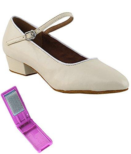 Zapatos De Baile Muy Finos Para La Práctica De La Salsa De Salón Para Mujeres 1682ft Tacón De 1 Pulgada + Cepillo Plegable Paquete Ligero De Color Beige