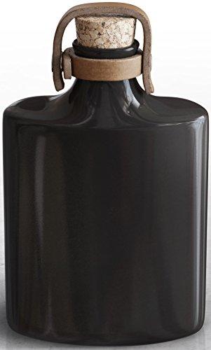 Ceramic Flask, Glass Flasks For Liquor, For Men and Women, Alcohol Drinking Hip Flask, Groomsmen Gift - Black