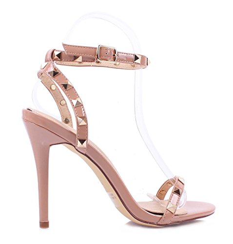 New 2 Color Patent Leather Adjustable Strap With Buckle Women Fashion Decorative Rhinestones Open Toe 4 1/2