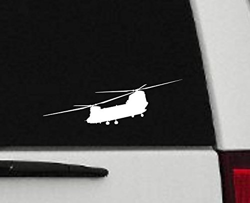 Decal - Helicopter - Chinook Helicopter Silhouette Vinyl Decal - Military Car Decal - H11 (3