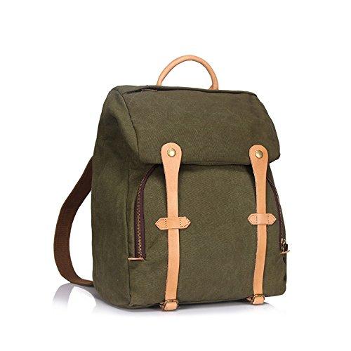 BAGEHUA 大容量レトロキャンバスメンズバッグは、メスの耐久性に優れた旅行バックパック、学生のファッションピクニックバックパック(幅 33 センチ、高さ 40 cm 、厚さ 17 cm ) B076KF9V9NArmy green