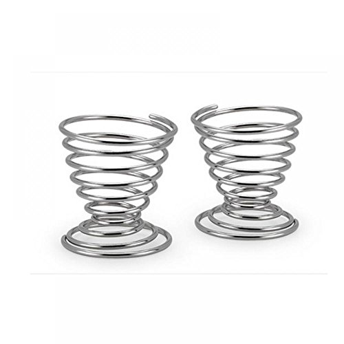 MAXGOODS Stainless Steel Spring Wire Tray Boiled Egg Cups Holder Stand Storage,2-Pack