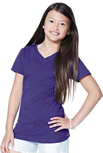 LAT Girls' 100% Cotton Fine Jersey V-Neck Short Sleeve Tee (White, Large) -