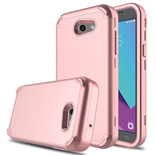 DONWELL New Galaxy J3 2017 Hybrid Three Layer Shockproof Protective Hard Armor Cell Phone Case Cover Protector for Samsung Galaxy J3 Emerge/Express Prime 2/Amp Prime 2 (Rose Gold)