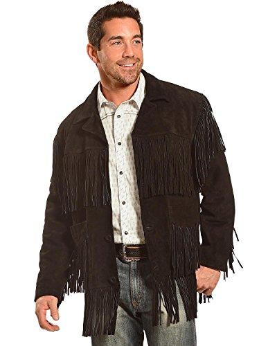 Liberty Wear Men's Suede Fringe Western Jacket Black XX-Large (Jackets Fringe Western Suede)