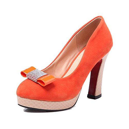 AllhqFashion Mujeres Puntera Redonda Tacón ancho De salón con Diamante de Imitación Naranja