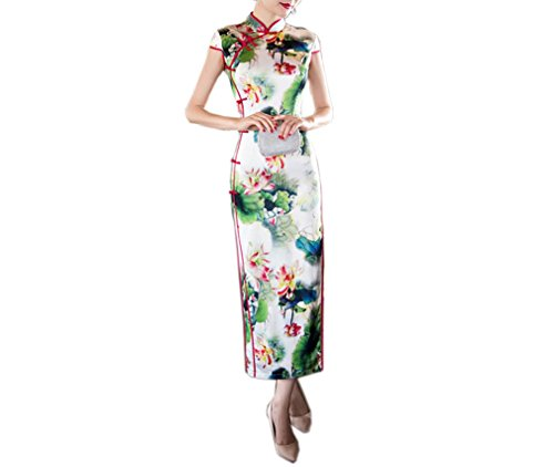 Luck Femme Longue Robe Chinois Manche Courte Motif Lotus en Polyester
