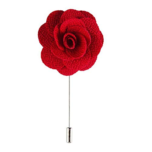 (Sunny Home Men's Lapel Flower Stick Brooch Pin Boutonniere Pin for Suit Tuxedo Corsage (Red))